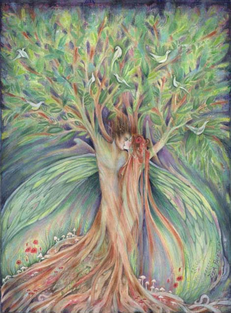 tree lovers fairy art Liza Paizis